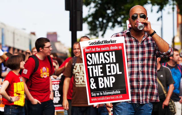 Placard protestor - Anti-EDL Protests, London, September 2011