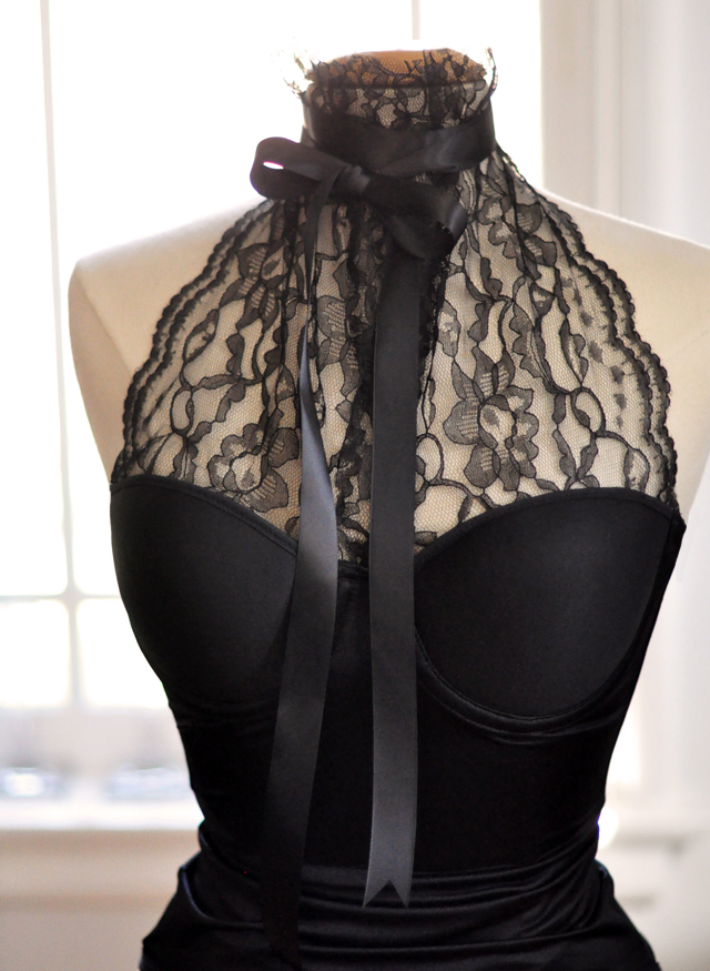 Lace Bustier Halter DIY - with bow