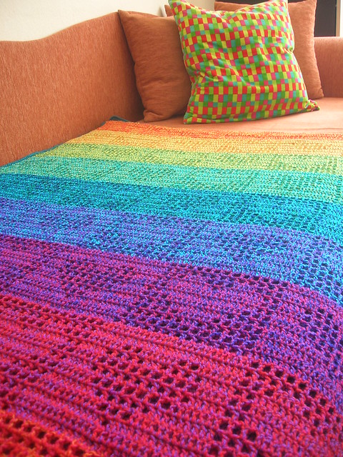 Crochet Afghan Patterns With Hearts : Rainbow Hearts Filet Crochet Afghan / Curtain Flickr ...