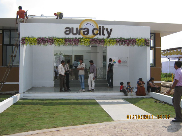 Site Office of  Aura City, 1 BHK & 2 BHK Flats at Shikrapur, on Nagar Road, Pune 412 208