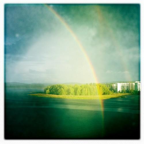 autumn lake fall home finland rainbow highrise processed jyväskylä järvi jyväsjärvi iphone4 hipstamatic