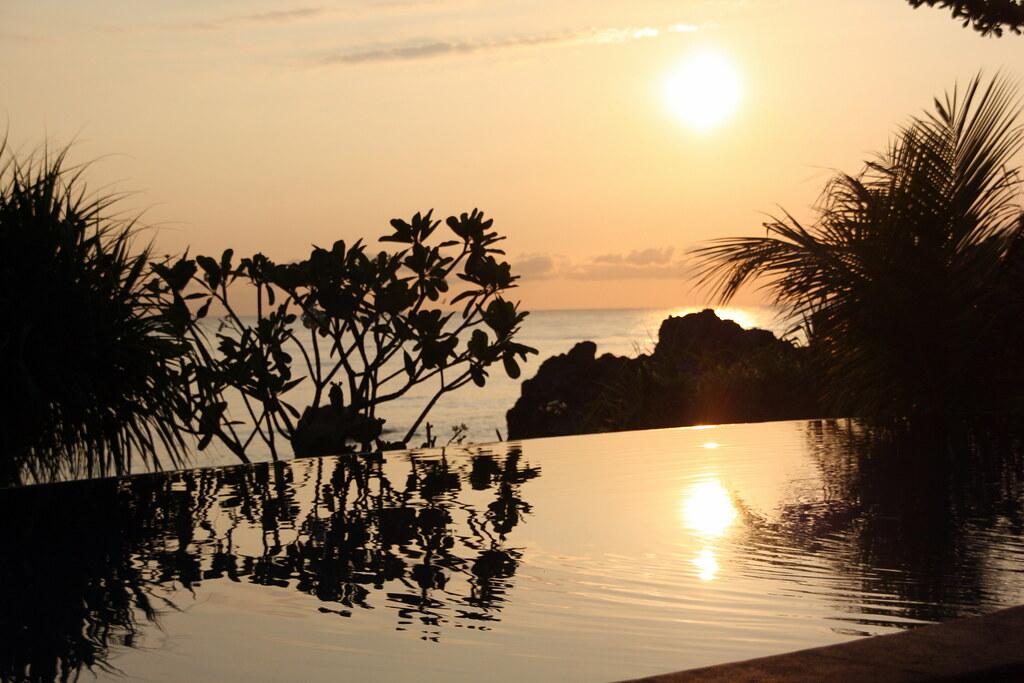 pool sunset
