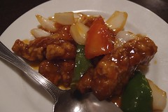 sweet and sour(0.0), produce(0.0), sweet and sour pork(1.0), kung pao chicken(1.0), orange chicken(1.0), meat(1.0), general tso's chicken(1.0), food(1.0), dish(1.0), cuisine(1.0), teriyaki(1.0),