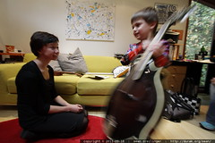 sequoia shows off his mandolin (to his future violin…