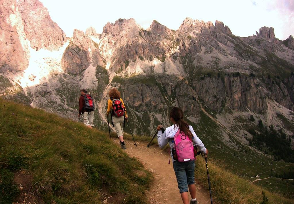 Dolomiten , Rosengarten nahe Rotwand, aufwärts im Sauseschritt   - 183/5842