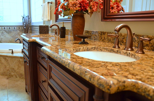Granite Bathroom Countertop - Waterfall Edge