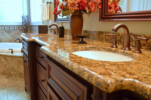 Granite Bathroom Countertop - Waterfall Edge