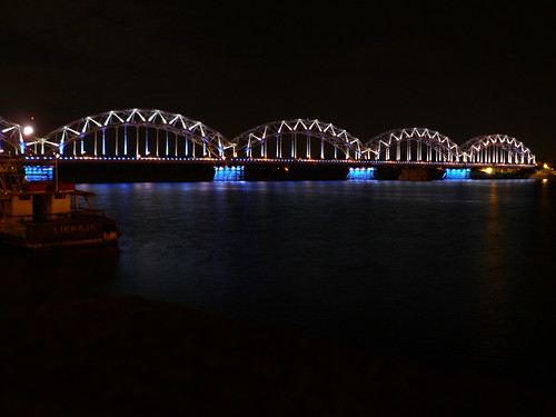 bridge night river europe latvia riga daugava
