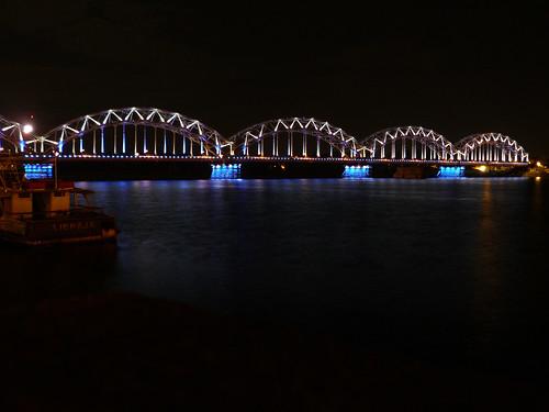 bridge night river europe latvia riga daugava