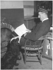 Station Master Joseph Sullivan in his office, Drouin Railway Station, Victoria, ca. 1944