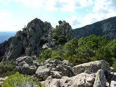 Depuis la crête rocheuse au N du col 780m : vue du castellu et de sa pointe