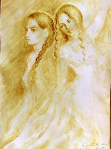 Enigma Otiliei - Otilia vs Aurica pictura facuta cu cafea
