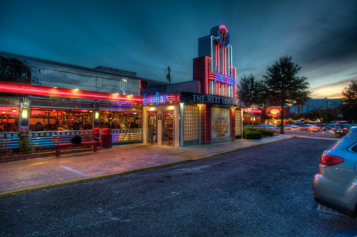 sunset night silver nikon neon diner hdr d300s thechallengefactory