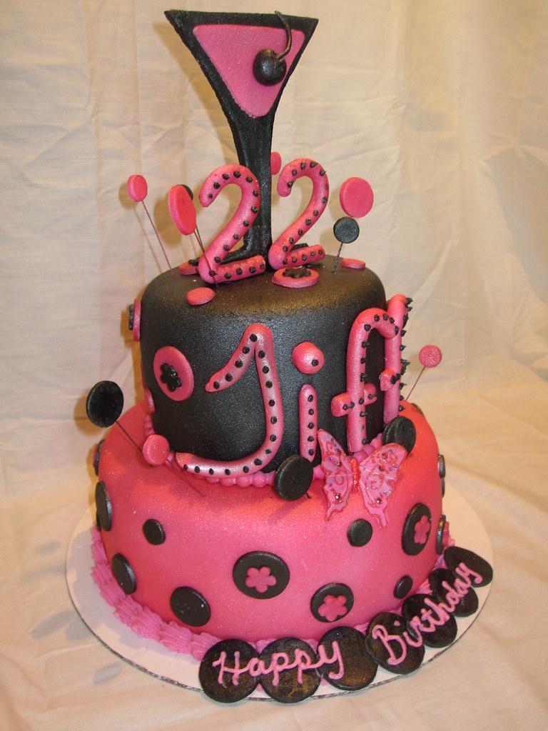 Martini Polka Dot Black And Hot Pink 22 Birthday Cake