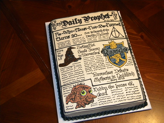Harry Potter Daily Prophet Cake