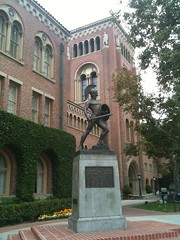 Tommy Trojan and the Bovard Administration Building