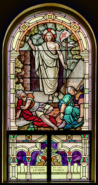 Holy Cross Roman Catholic Church, in Cuba, Missouri, USA - stained glass window of the Resurrection