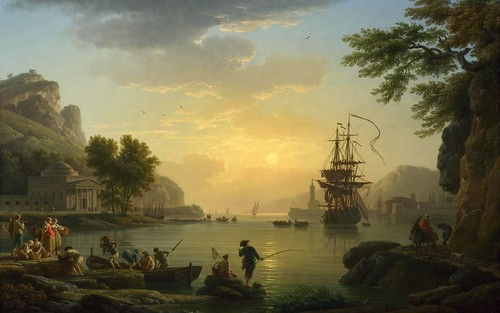 Claude-Joseph Vernet – National Gallery (London) NG6600. A Landscape at Sunset (1773)