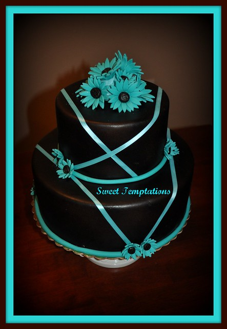 Teal Chocolate wedding cake
