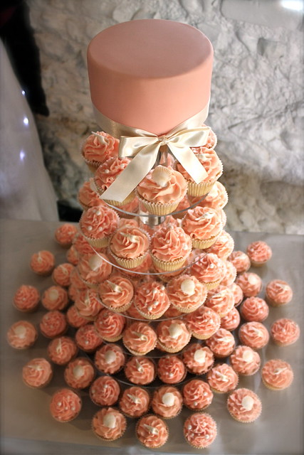 Peach Ivory Seashell Wedding Cupcake Tower
