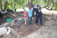Children enjoying metal detecting in grounds of Bowden Cottage