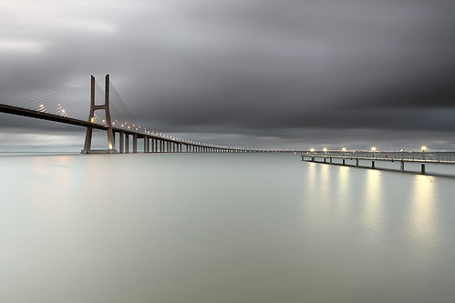 longexposure morning bridge portugal river lights cross lisboa smooth tranquility calm le tejo contemplation parqueexpo cresende