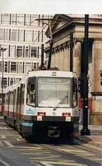 Manchester Metrolink T-68 tram 1004,The Robert Owen, corner of Princes and Mosley St. 1994