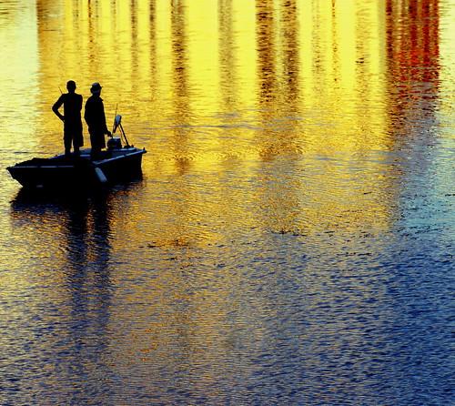 light italy colour reflection men water sunrise river dawn boat florence fishing riverarno hallglorymorningwaysep2011