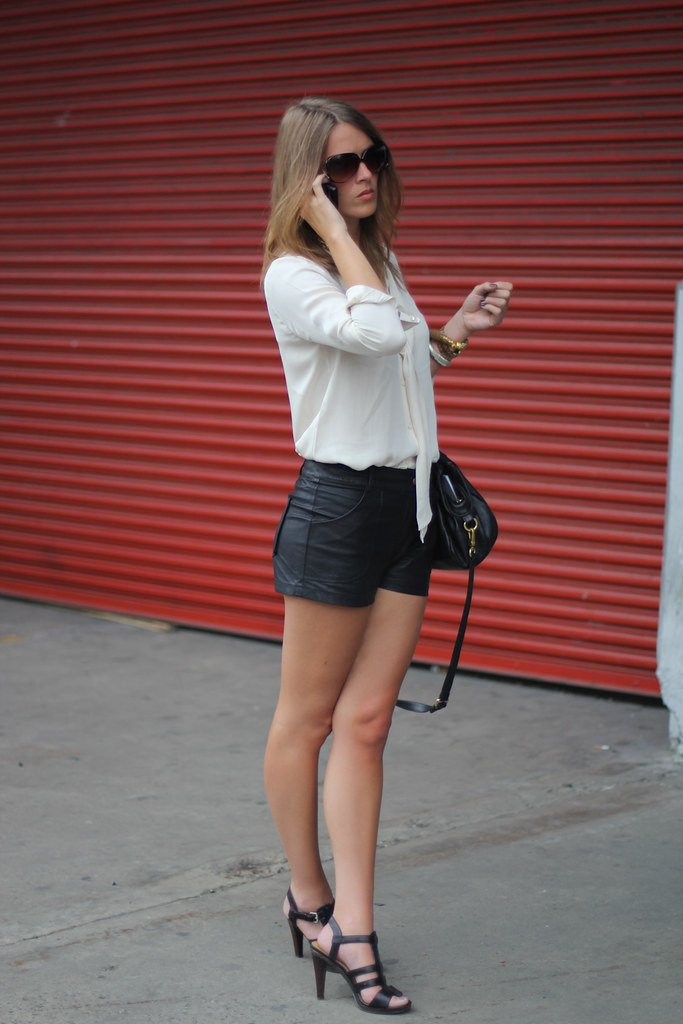 leather shorts outside wang