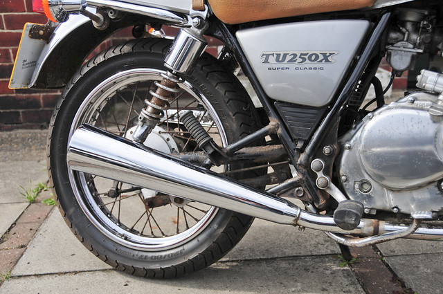 Suzuki TU250X Motorcycle, Motorbike, 2000 Model in Silver (rear right detail)
