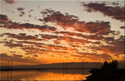 california ca city orange black fall colors sunrise dawn bay day cloudy 100views sanfranciscobay redwood pylons slough geotag westpoint equinox 6139