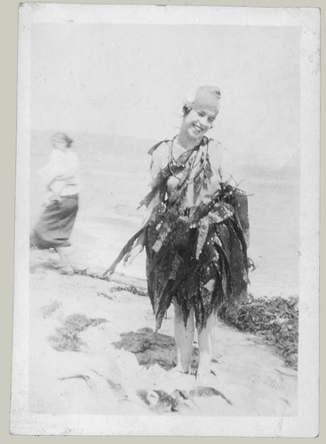 Girl in costume of seaweed
