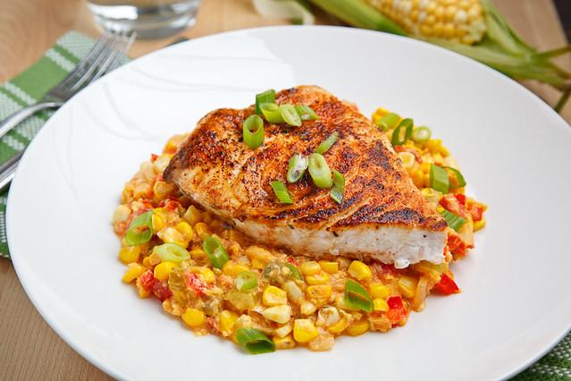 Blackened Swordfish on Corn Maque Choux | Flickr - Photo Sharing!