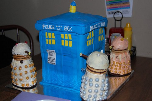 TARDIS cake  & Dalek cupcakes