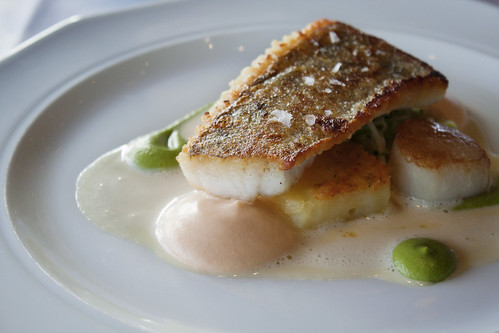 Pan fried pike perch from Vanajavesi and scallop, with apple sauce