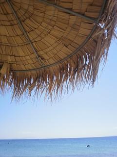 Brown umbrella at the beach