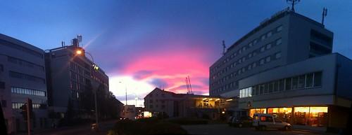 street sunset sky clouds hotel sisak