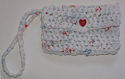 Recycled Plastic Bag Wristlet Purse