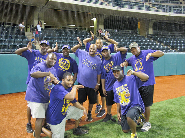 <p>Members of Omega Psi Phi volunteered their time as umpires and referees for the friendly tournament at the the UH AUW Softball Tourment at Les Murakami Stadium on Sept. 30, 2011</p>