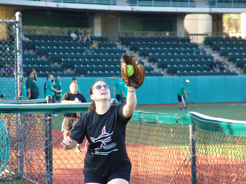 <p>Players, both experienced and novice, warmed up in the bullpen for the UH AUW Softball Tourment at Les Murakami Stadium on Sept. 30, 2011.</p>
