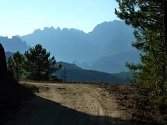 Sur la piste de Pascialella au retour : les aiguilles de Bavella avec le Poliscellu