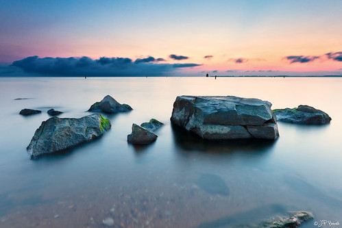 longexposure seascape reflection water clouds sunrise rocks horizon maryland boulders chesapeakebay withalittlehelpfrommyfriends sandypointstatepark wheresautumn