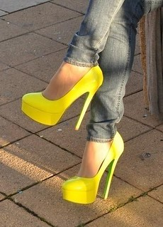 Yellow Platform Pumps with Green Bottom