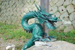 art, green, fictional character, dragon, blue, statue,
