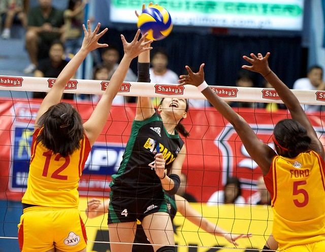Philippine Army takes game one of Shakeys V-League Volleyball finals against San Sebastian College.