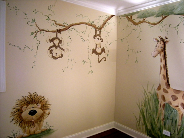 Whimsical jungle nursery mural flickr photo sharing for Baby room jungle mural