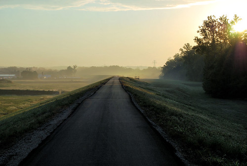 park fog sunrise trail valley