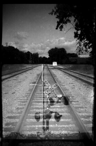 Railroad double exposure: one film, two cameras