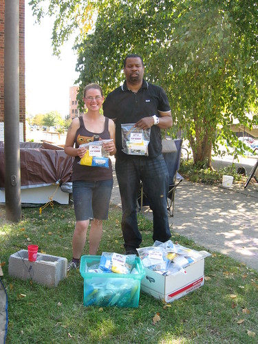 Receiving AFSC Hygiene Kits at Occupy Greensboro 10-18-11 Mo on left & Chris on right Photo by Susan Ikenberry