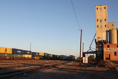 Abandoned grain elevator and high-priority stacktrain